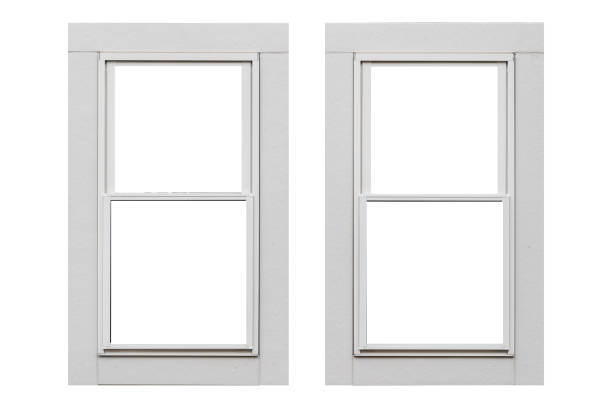 White metal window frame isolated on white background stock photo
