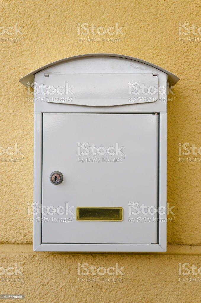 White metallic mailbox stock photo