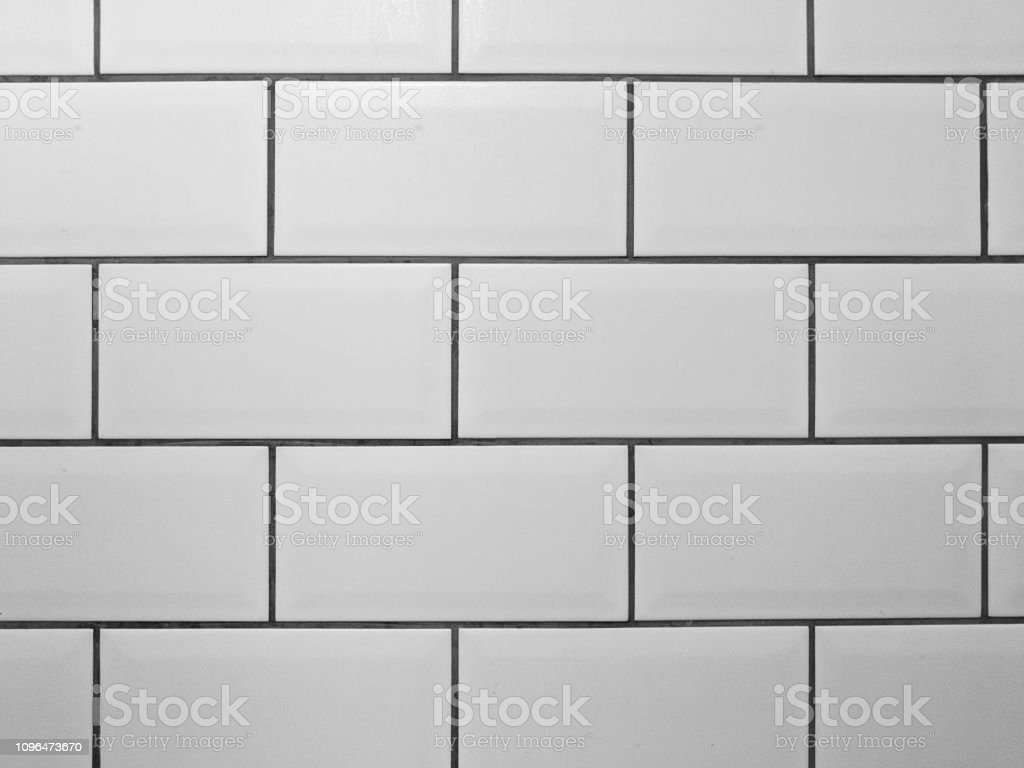 White Metro Tiles With Grey Grout White Rectangle Tiled Background Stock Photo Download Image Now Istock