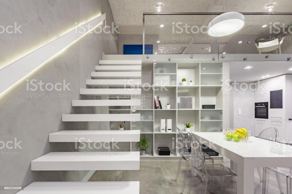 White mezzanine stairs stock photo