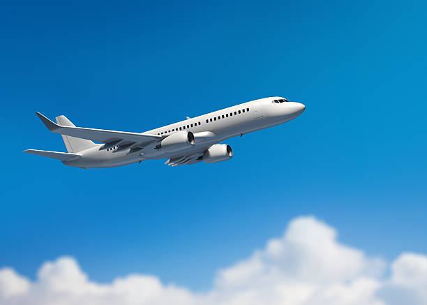 White mid-sized passenger jet airplane stock photo