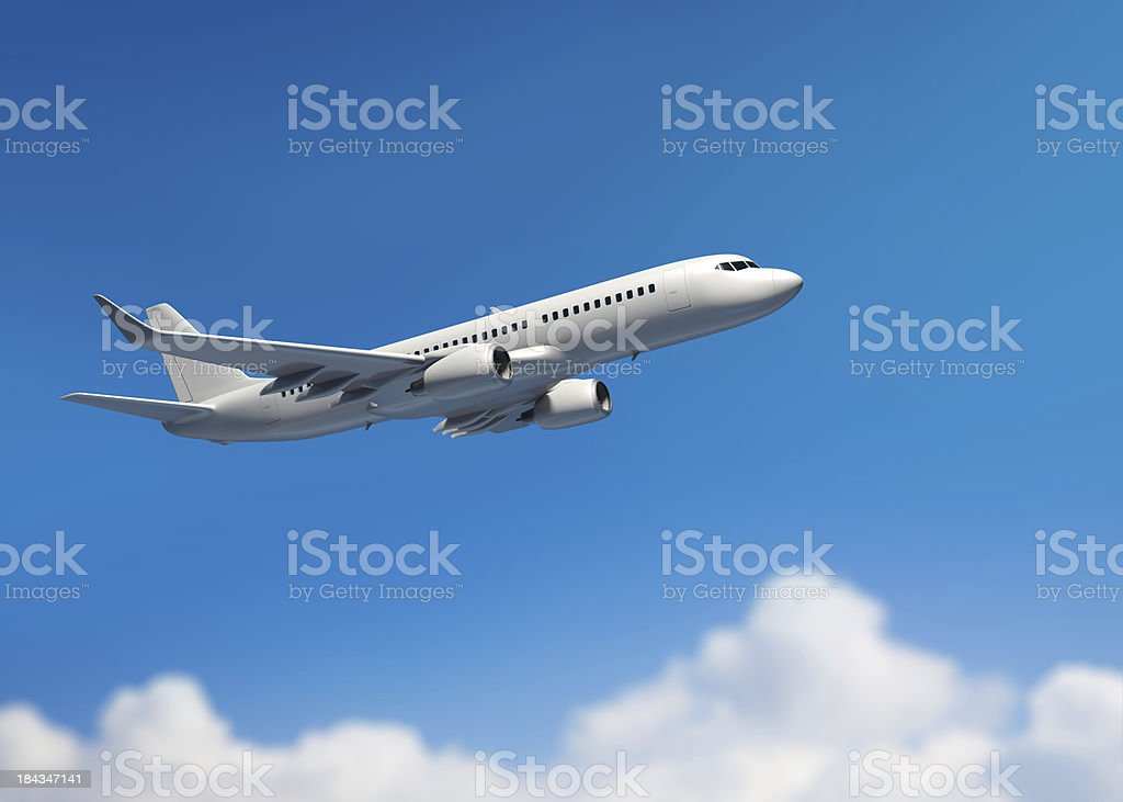 White mid-sized passenger jet airplane stock photo