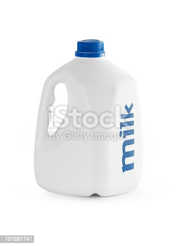 Milk bottle isolated with clipping path.