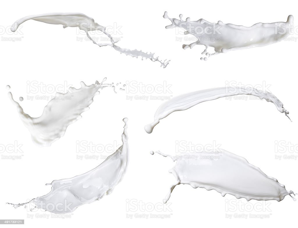 white milk, mixed splash isolated on white background stock photo