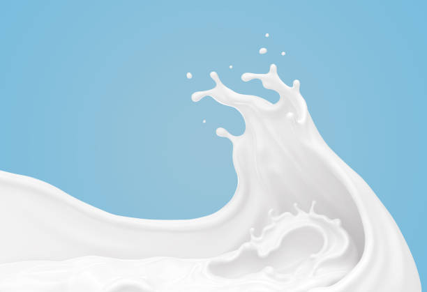 흰 우유 또는 요구르트 스플래시 웨이브 모양. - 크림 유가공 식품 뉴스 사진 이미지