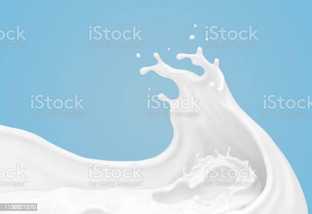 Salpicadura De Leche Blanca O Yogur En Forma De Onda Foto de stock y más banco de imágenes de Abstracto