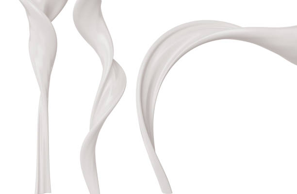 White milk or yogurt splash. White milk or yogurt splash in curvy line, Paint or Liquid, 3d illustration. pouring stock pictures, royalty-free photos & images