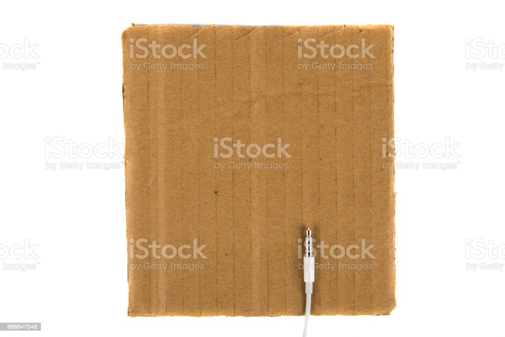 White minijack connection on cardboard. view from above stock photo
