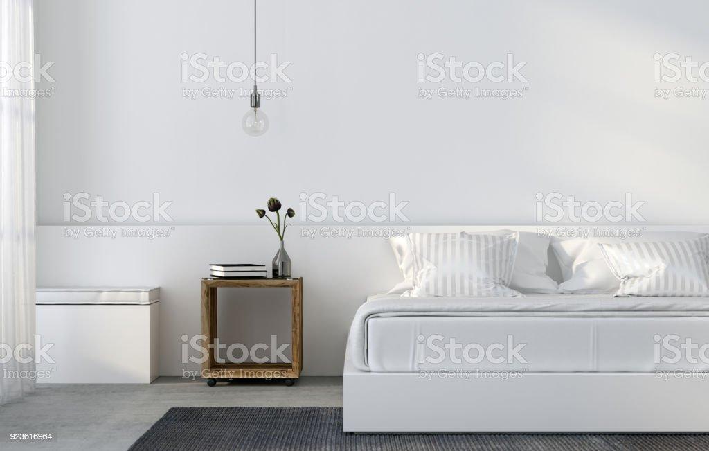 Weisse Minimalistisch Schlafzimmer Stockfoto Und Mehr Bilder