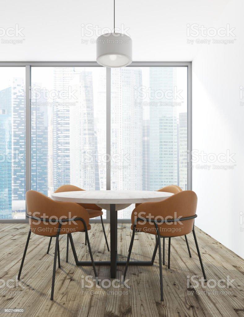 Comedor Minimalista Blanco Interior Ventana Foto de stock y más banco de  imágenes de Casa