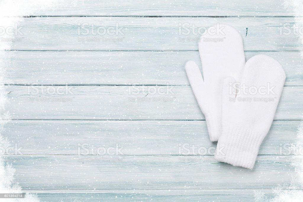 White mittens stock photo