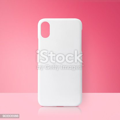 White mobile cover on pink backdrops. Blank phone case for printing.