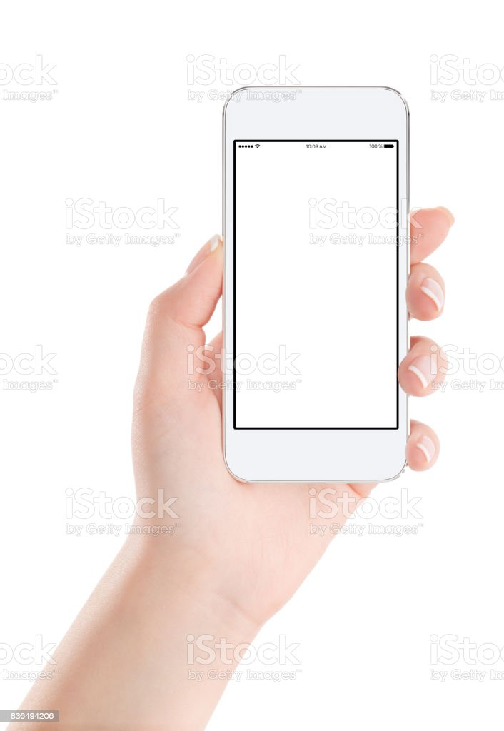 White mobile smart phone mock up with blank screen in female hand stock photo