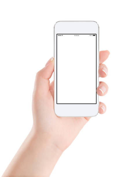 white mobile smart phone mock up with blank screen in female hand - human hand stock pictures, royalty-free photos & images