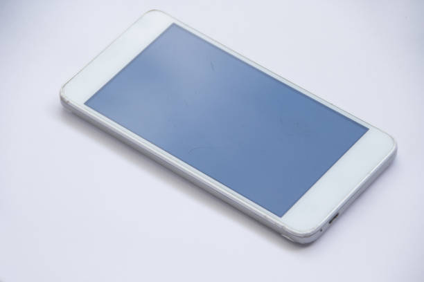 white mobile, smartphone on white background stock photo