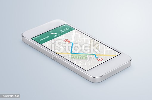 istock White mobile smartphone with map gps navigation app lies on the surface 843285998