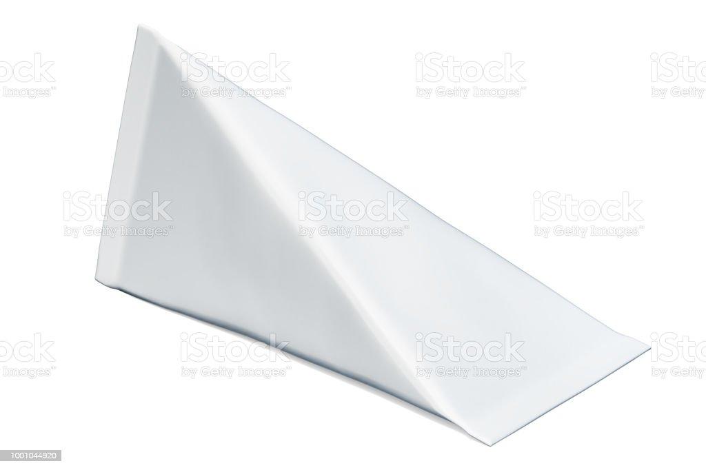 Renderização de branco simulado a embalagem da caixa de papelão triângulo na mesa de madeira, 3D - foto de acervo