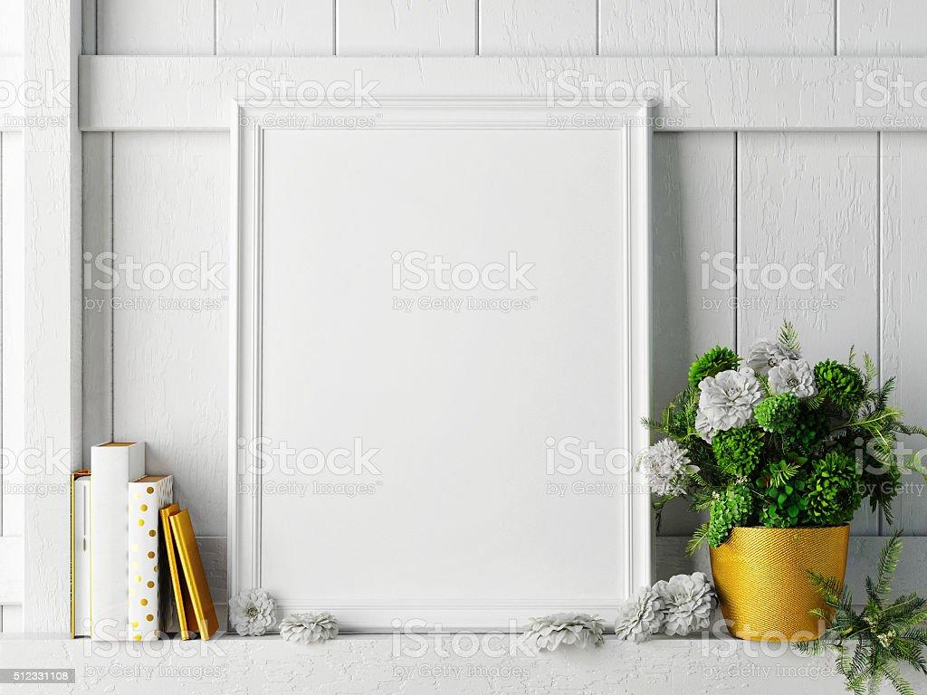 white mock up frame, hipster background, stock photo