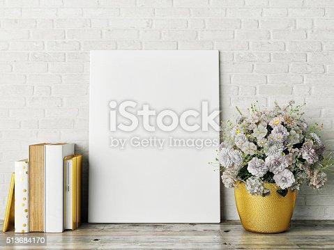 istock white mock up frame, hipster background 513684170