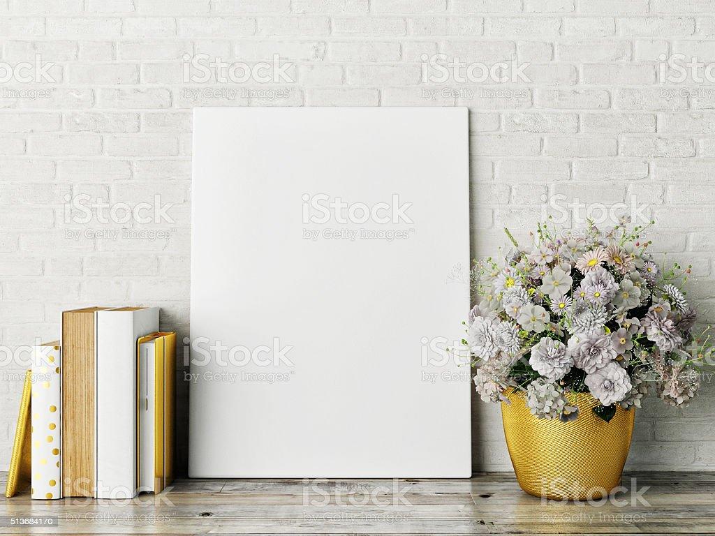 white mock up frame, hipster background stock photo