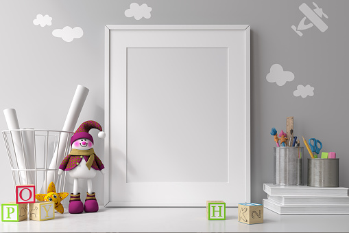 White Mockup Frame Stock Photo - Download Image Now