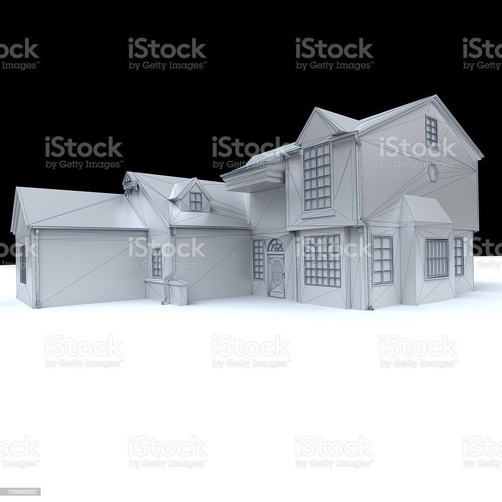 White model house with black background royalty-free stock photo
