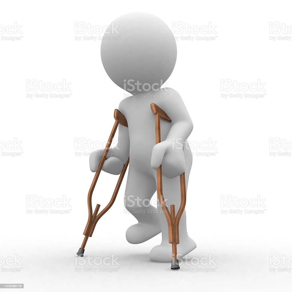 3D white model person on crutches royalty-free stock photo