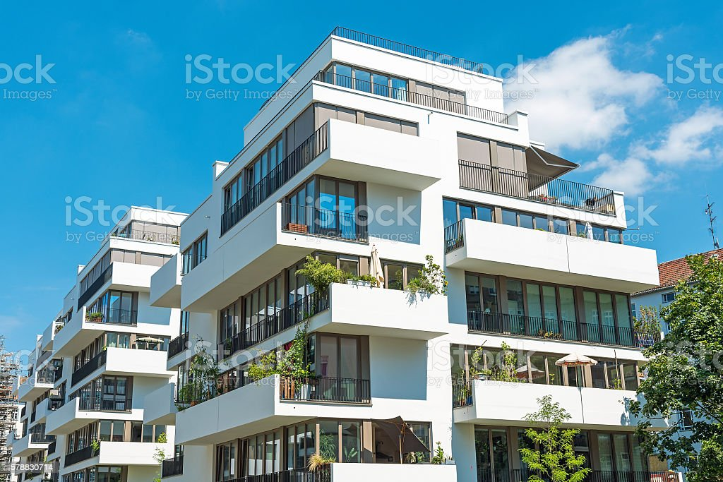 White modern apartment house stock photo