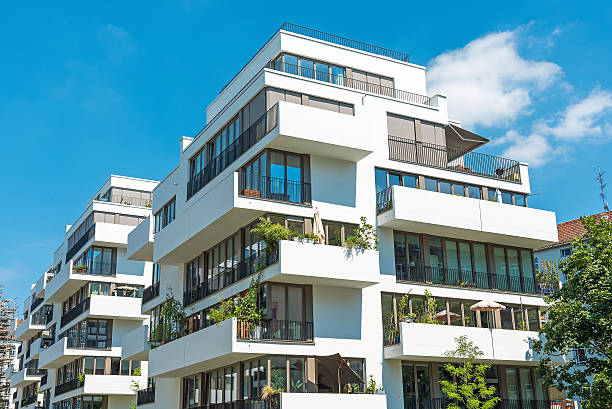 White modern apartment house stock photo