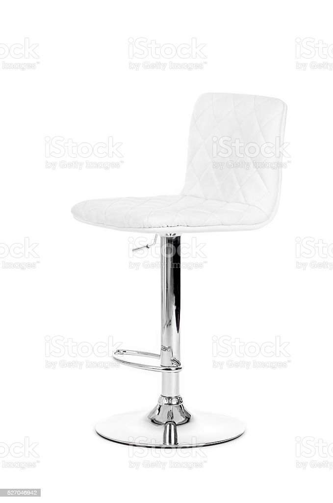 White modern bar Chair isolated over white background stock photo