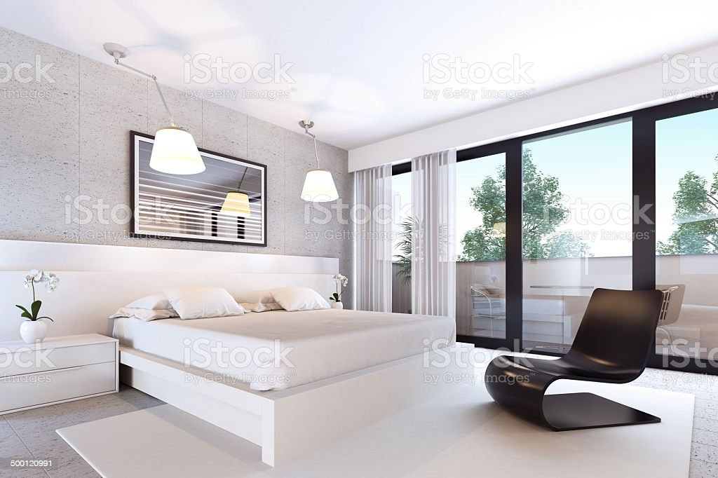 White Modern Bedroom stock photo