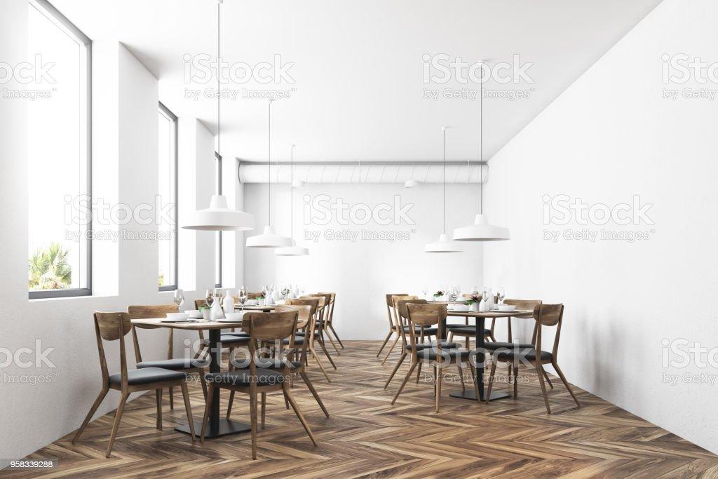 White modern cafe interior stock photo