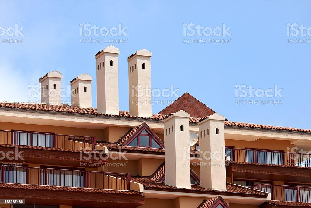 white, modern chimney stock photo