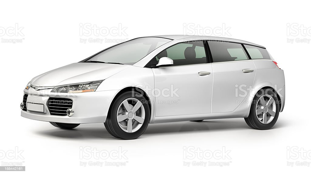 White modern compact car on white background stock photo