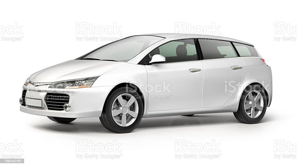 Weiße moderne kleines Auto auf weißem Hintergrund – Foto
