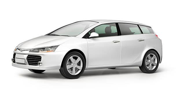 weiße moderne kleines auto auf weißem hintergrund - motionless in white stock-fotos und bilder