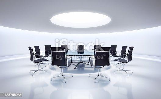 Runder Besprechungsraum mit Konferenztisch und modernen Stühlen