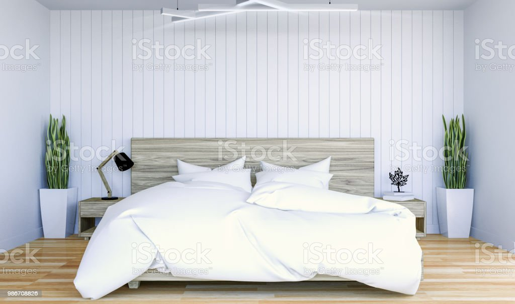 . White Modern Contemporary Bedroom Interior With Copy Space On Wall