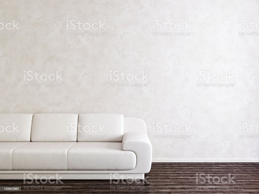 White modern couch in empty room with white wall background stock photo