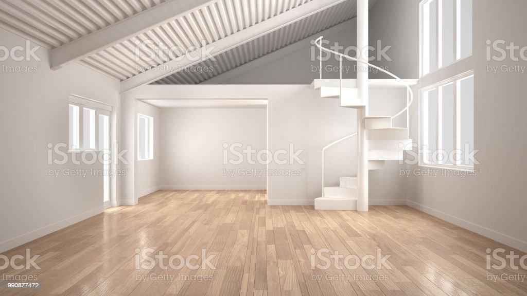 Weiße Moderne Interieur Offene Leerraum Mit Mezzanine Und ...