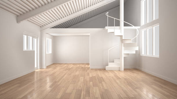 White modern empty interior, open space with mezzanine and minimalist spiral staircase, concept design background stock photo