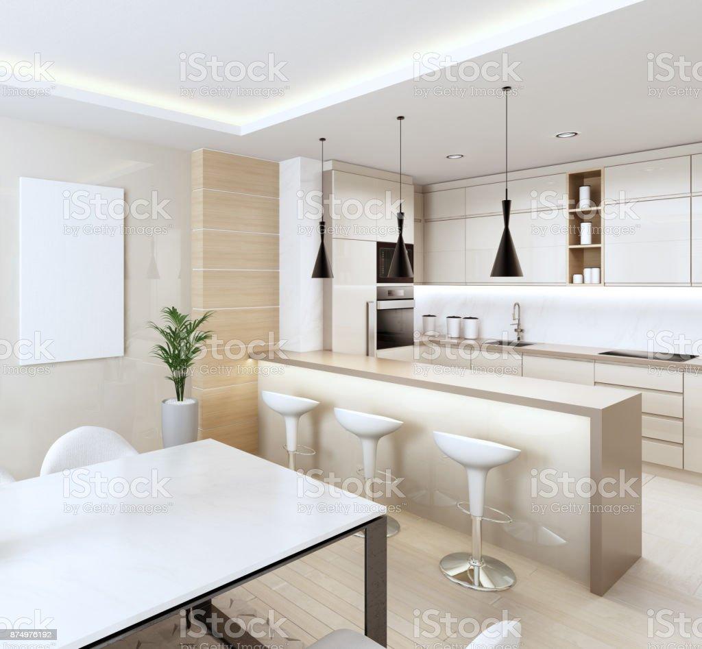 Witte Moderne Interieur Keuken Met Lichte Houten Panelen En Met Eettafel En Stoelen Stockfoto En Meer Beelden Van Afbeelding Istock
