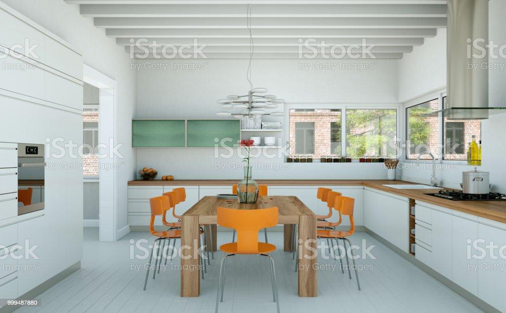 Weisse Moderne Kuche In Einem Haus Mit Orange Stuhle Und Tisch Aus Holz Stockfoto Und Mehr Bilder Von Architektur Istock