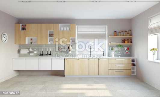 istock White modern kitchen with light brown cabinets 493708737