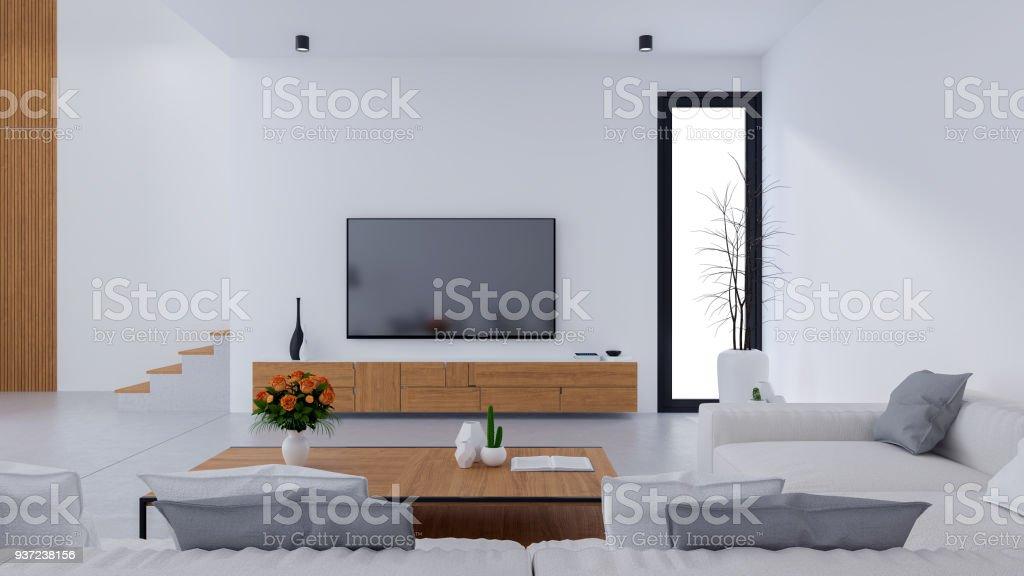 piso de concreto sala de estar Blanco Moderno Diseo De Sala De Estar Y Estilo Acogedor