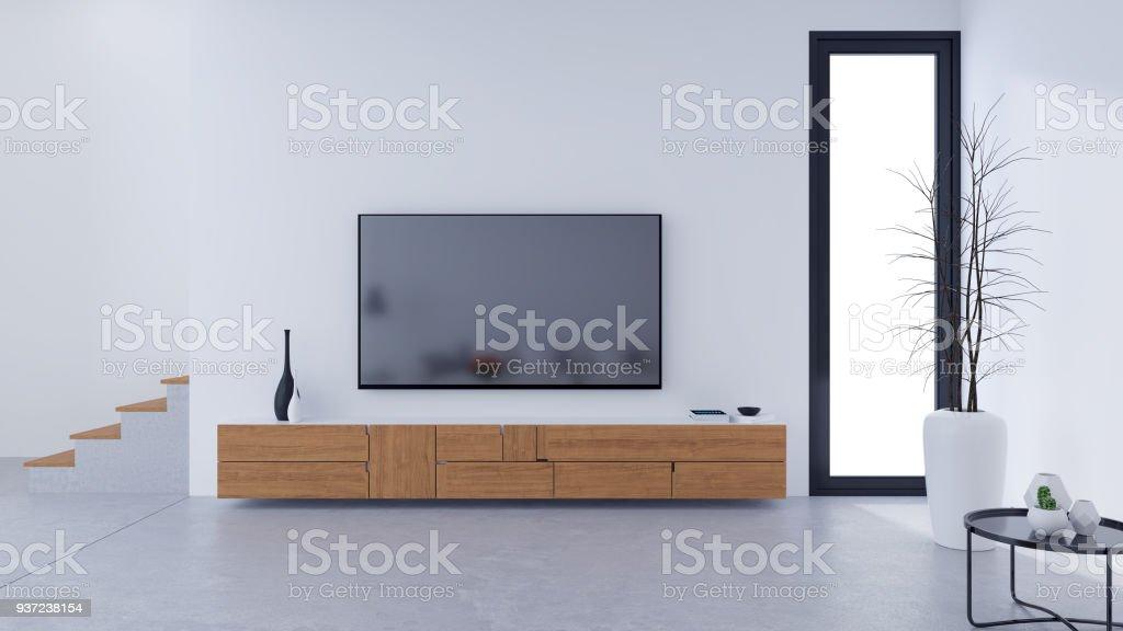 Weiß Modernes Wohnzimmer Design Und Gemütlich Wohnen, Hölzerne TV Schrank  Auf Betonboden, 3d