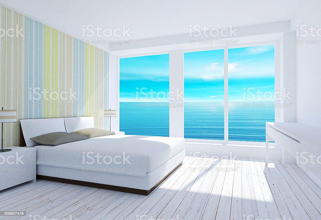 Bianco Interni Moderna Camera Da Letto In Stile Loft Con Vista Mare ...