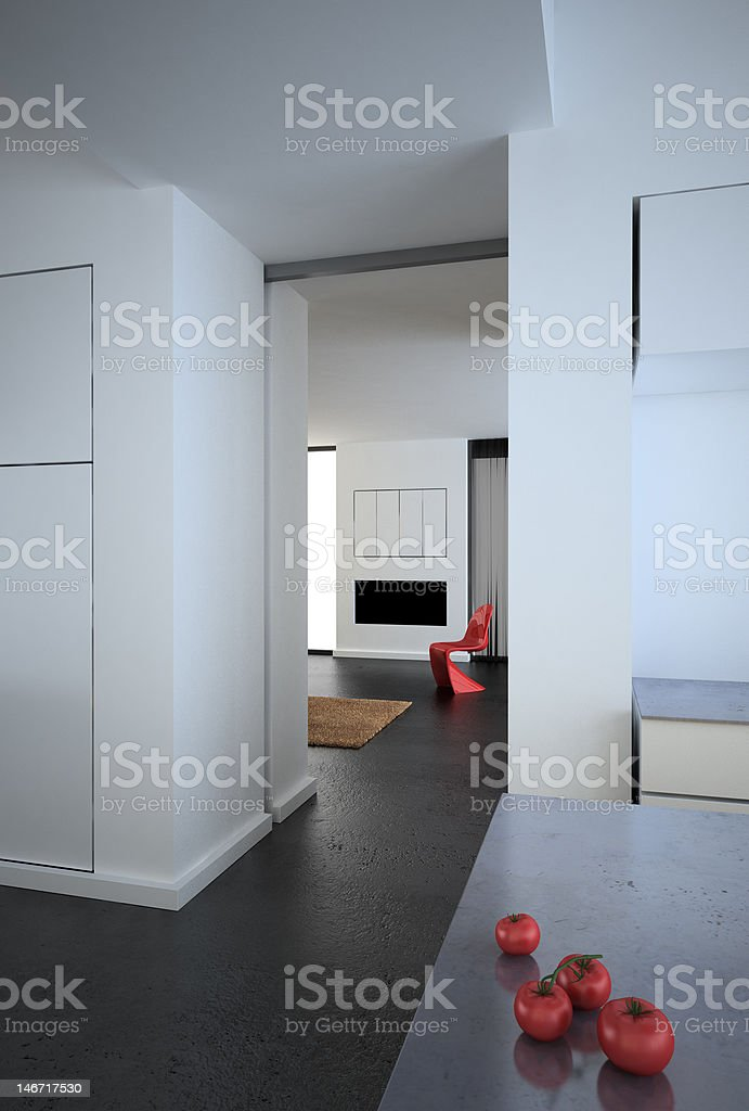White modern loft kitchen royalty-free stock photo