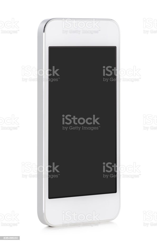 White modern mobile smart phone with blank screen stock photo
