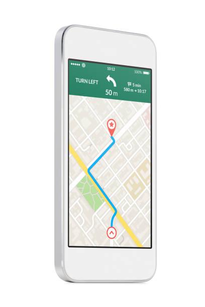 weiße moderne mobile smartphone mit karte gps-navigations-app auf dem bildschirm - kompass wanderkarte stock-fotos und bilder